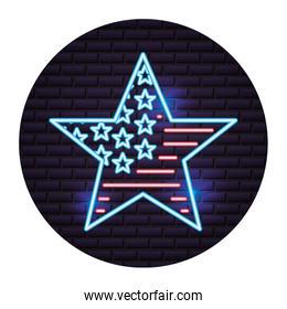 american flag in star neon on wall
