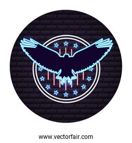silhouette eagle and american flag neon on wall