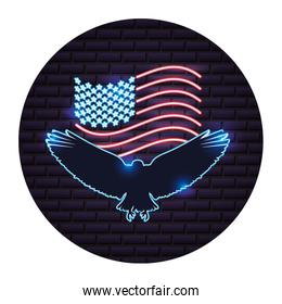 american flag and eagle neon on wall
