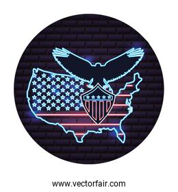 american map flag and eagle neon on wall