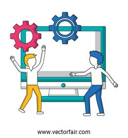 young men with monitor computer and gears isolated icon