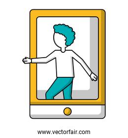 tablet device with young man isolated icon