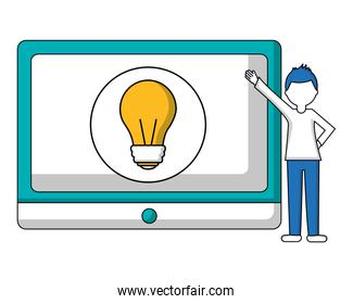 tablet device with young man and light bulb isolated icon