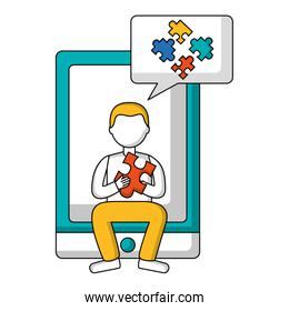 tablet device with young man and speech bubble isolated icon