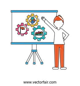 businessman pointing board with presentation gears
