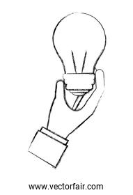 hand holding bulb idea creativity