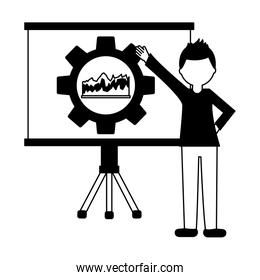 paperboard training with gear and statistical graphics isolated icon
