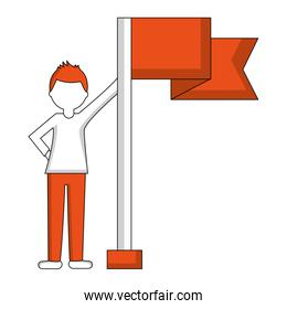 young man with flag in pole isolated icon