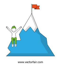 young man with snowy mountain with flag isolated icon