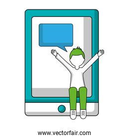 young man with tablet and speech bubble isolated icon