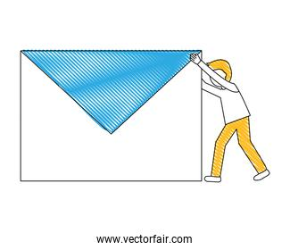 young man with envelope mail isolated icon