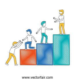 work team going up to the top isolated icon