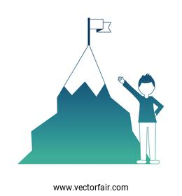 businessman success and mountain with flag in top
