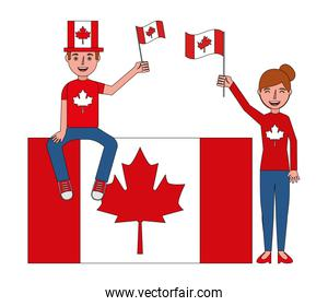 canadian couple holding flags canada day