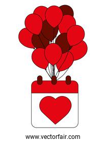love heart in calendar with balloons decoration