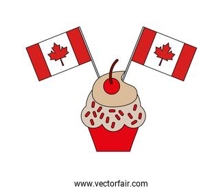 sweet cupcake with flags canada day