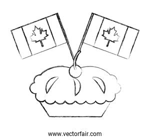 sweet pie cake cherry and canada day flags celebration