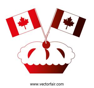sweet cake cherry and canada day flags celebration