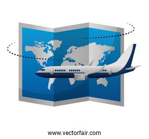 airplane flying with world paper map