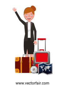 businesswoman with travel set icons
