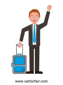businessman with suitcase isolated icon