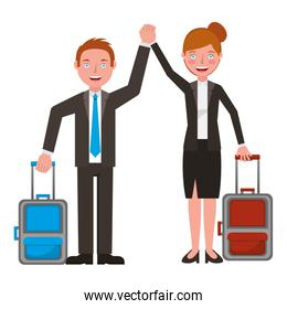 business couple with suitcase characters