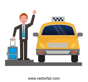 businessman with suitcase and taxi