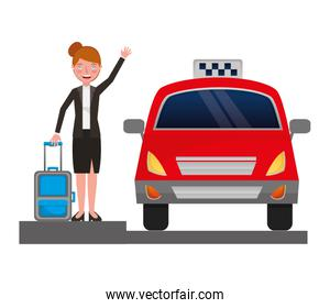 businesswoman with suitcase and taxi