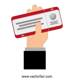 hand with ticket flight isolated icon