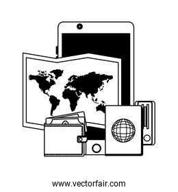 travel phone map wallet and passport