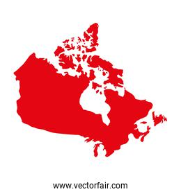 red canadian map geography country