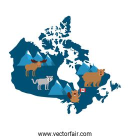 canadian map with wolf bear moose and beaver wildlife