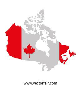 canada day and flag in map country