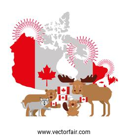 canada day celebration map animals and flag national