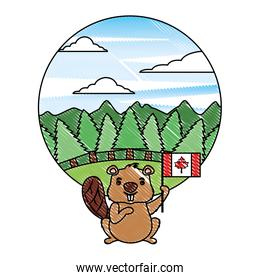 beaver of canada with flag and landscape