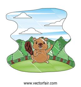 beaver of canada with landscape isolated icon