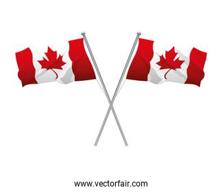 canada day celebration crossed flags symbol