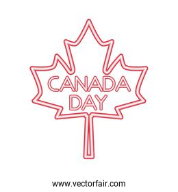 canada day maple leaf neon symbol
