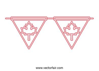 canada day neon pennants maple leaf decoration
