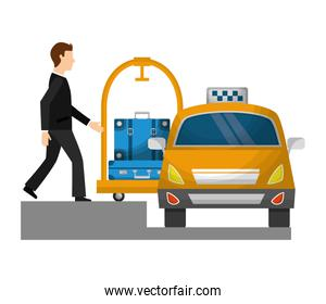 taxi car service with cart hotel and businessman