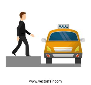 taxi car service with businessman