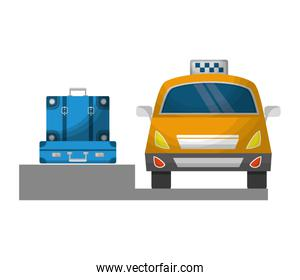 taxi car service with suitcase isolated icon