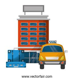 taxi car service with hotel and suitcase isolated icon