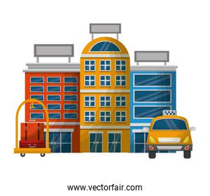 taxi car service with hotels and cart hotel isolated icon