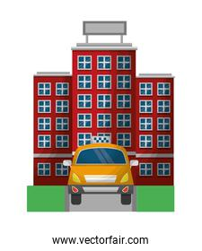 taxi car service with hotel isolated icon