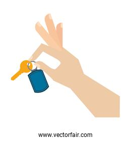 hand with key isolated icon