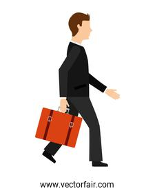 businessman with suitcase character