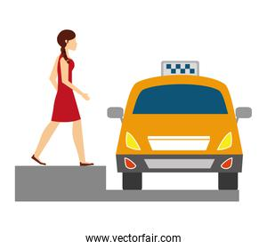 businesswoman with taxi car service icon
