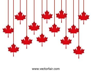 hanging red maple leaf decoration