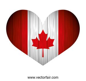 canadian flag in heart grunge style